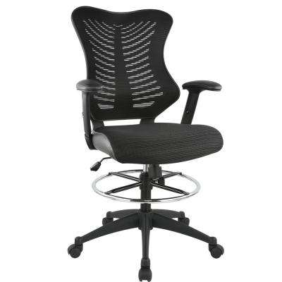 Correna Black Drafting Chair in Mesh