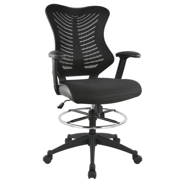 Poly and Bark Correna Black Drafting Chair in Mesh