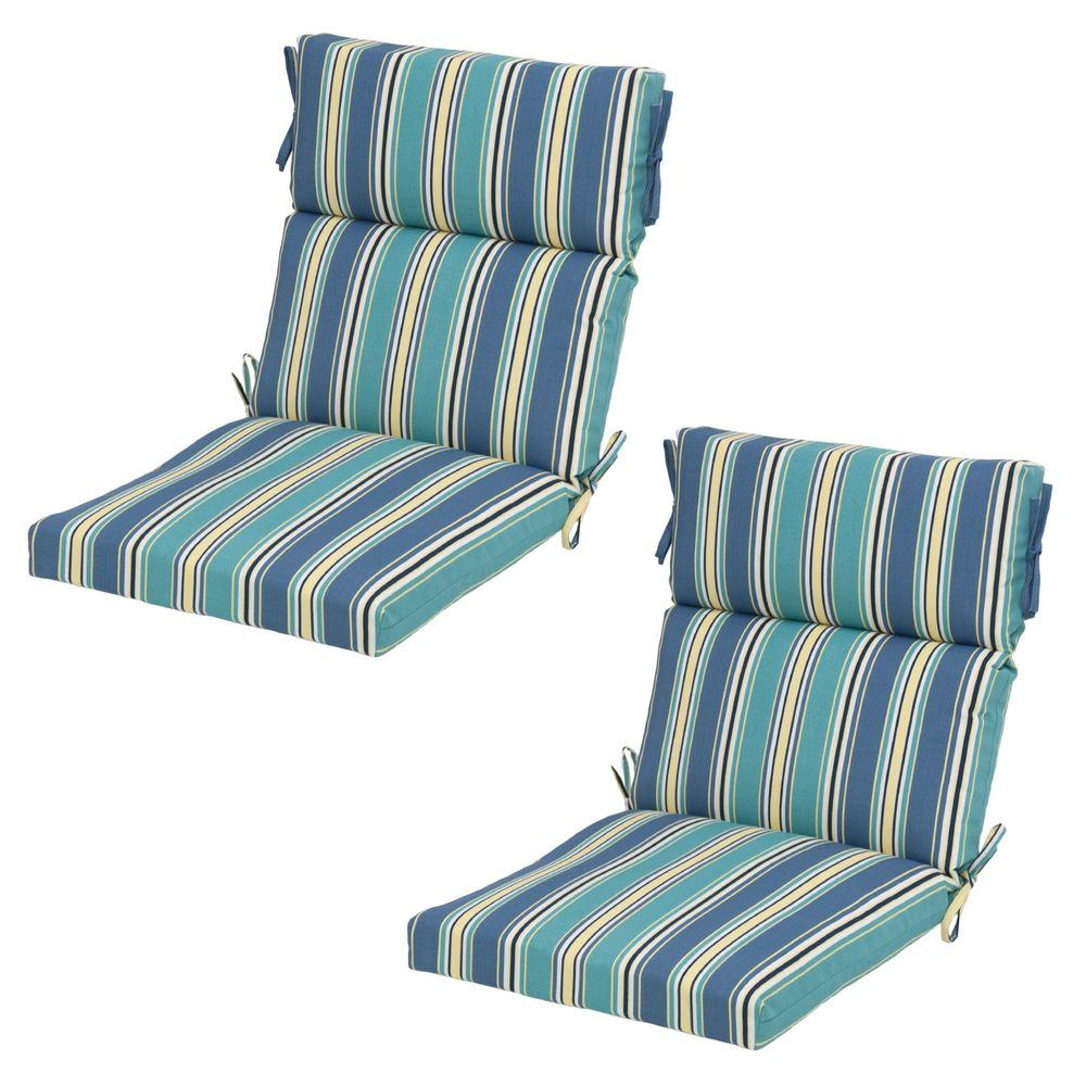 Hampton Bay 21 5 X 20 Outdoor Dining Chair Cushion In Standard Rainforest Stripe 2