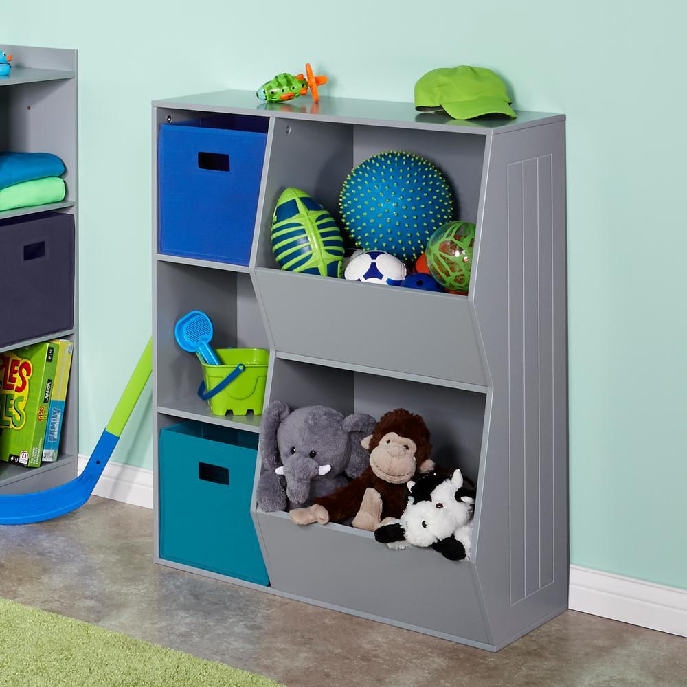 3-Cubby, 2-Veggie Bin Floor Cabinet in Gray
