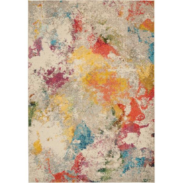 Celestial Ivory/Multicolor 7 ft. x 10 ft. Abstract Art Deco Area Rug