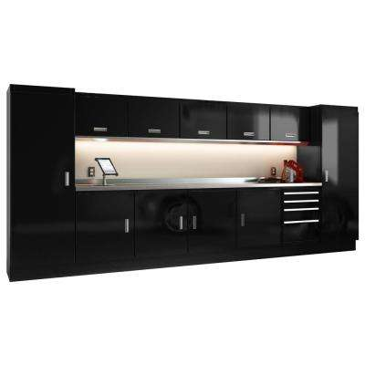 Select Series 75 in. H x 168 in. W x 22 in. D Aluminum Cabinet Set in Black with Stainless Steel Worktop (13-Piece)
