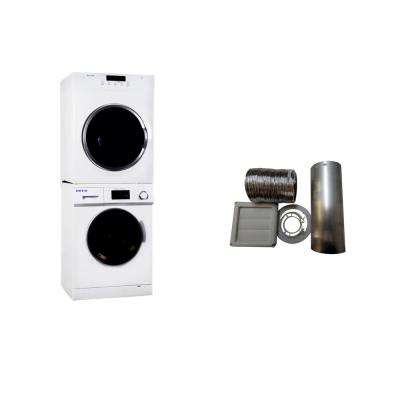 White Laundry Center with 1.6 cu. ft. Washer and 3.5 cu. ft. Electric Standard Dryer and White Outside Vent Kit
