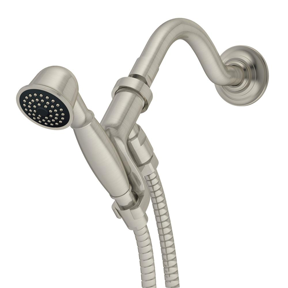 1-Spray Hand Shower with Shower Arm in Satin Nickel