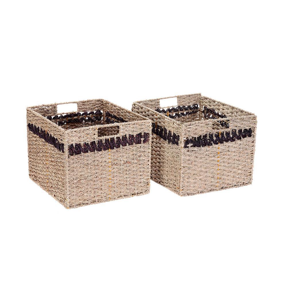 Handmade Water Hyacinth Wicker Rectangular Foldable Nesting Baskets in Striped Brown (2-Pack)