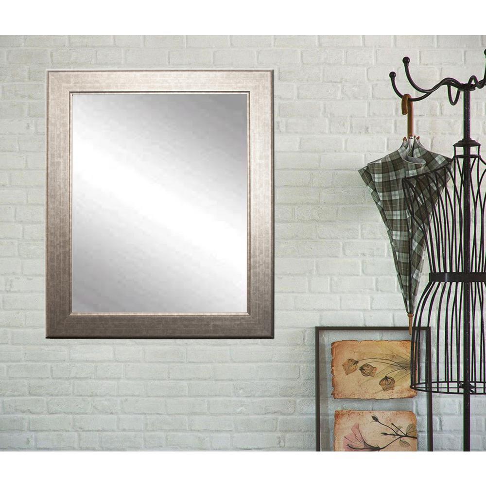 Medium Rectangle Silver/Gold Hooks Modern Mirror (36 in. H x 32 in. W)