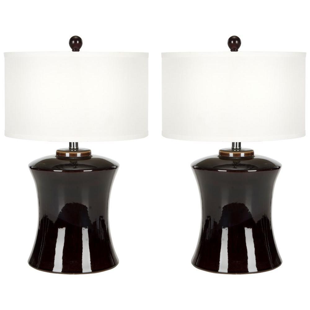 Gary 24 in. Dark Brown Ceramic Paris Table Lamp with White Shade (Set of 2)