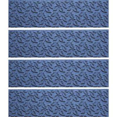 Navy 8.5 in. x 30 in. Dogwood Leaf Stair Tread Cover (Set of 4)