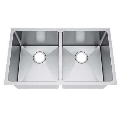 All-in-One Undermount Stainless Steel 33 in. 50/50 Double Bowl Kitchen Sink