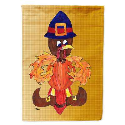 11 in. x 15-1/2 in. Polyester Thanksgiving Turkey Pilgrim Fleur de lis 2-Sided 2-Ply Garden Flag
