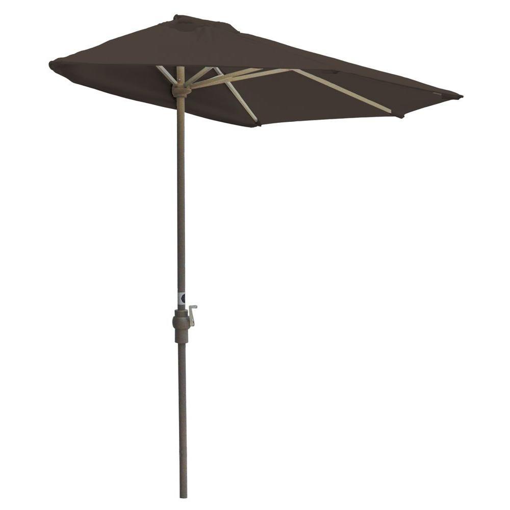 Off-The-Wall Brella 7.5 ft. Patio Half Umbrella in Chocolate Sunbrella