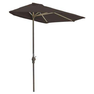 Off-The-Wall Brella 9 ft. Patio Half Umbrella in Chocolate Olefin