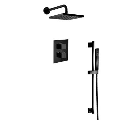 Quadro 2-Spray Square Shower Head and Wall Bar Shower Kit with Hand Shower in Matte Black