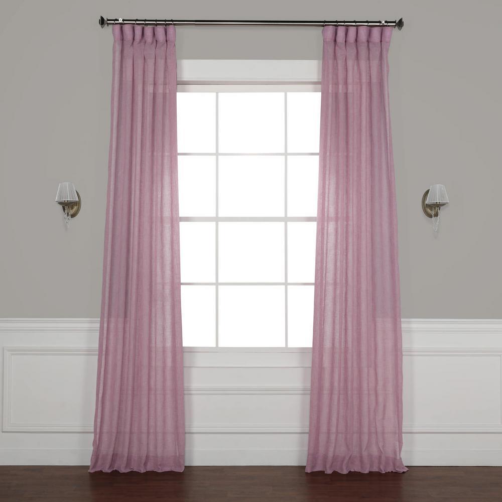 Blackberry Cream Purple Solid Faux Linen Sheer Curtain - 50 in. W x 96 in. L