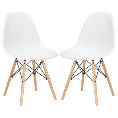 Vortex White Side Chair with Natural Legs (Set of 2)
