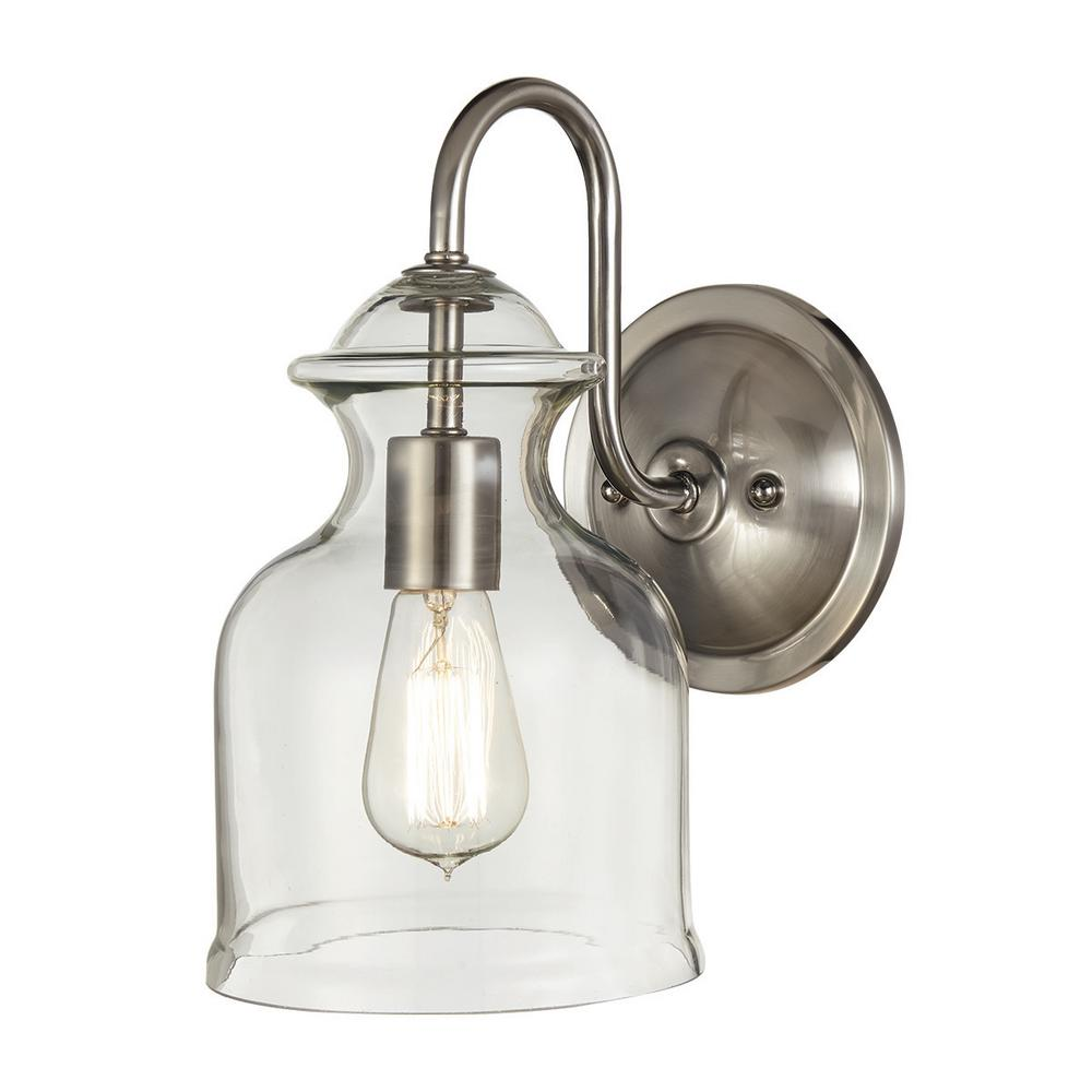 Home Decorators Collection 1 Light Brushed Nickel Wall Sconce With Clear Glass Shade 7943HDC