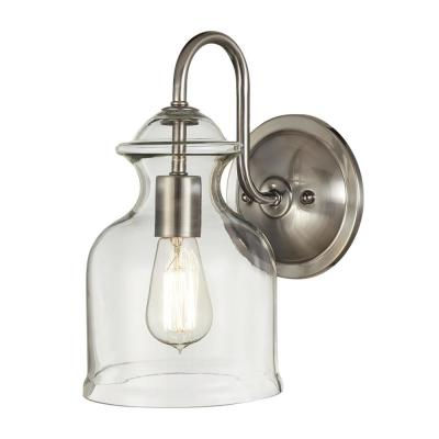 1-Light Brushed Nickel Wall Sconce with Clear Glass Shade