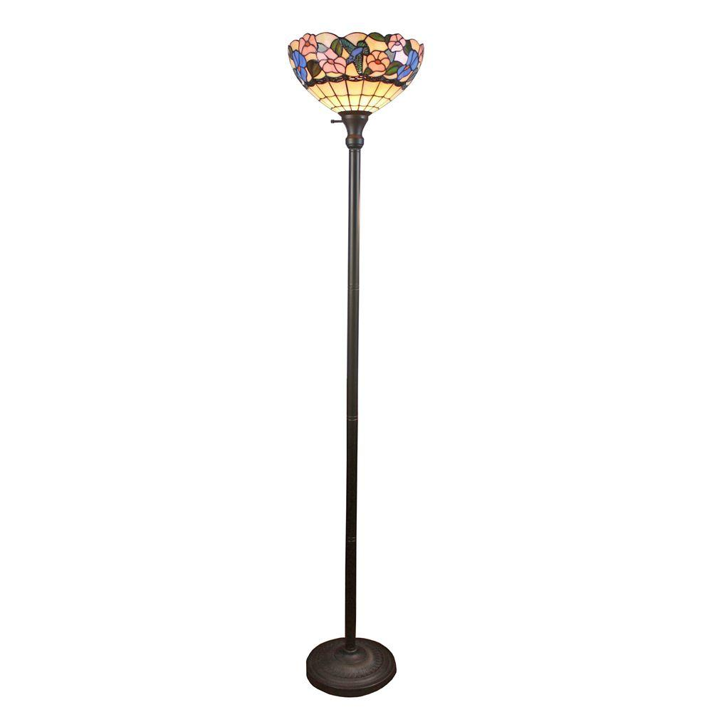 Amora lighting 70 in tiffany style hummingbirds floral torchiere amora lighting 70 in tiffany style hummingbirds floral torchiere floor lamp aloadofball Choice Image
