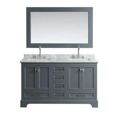 Omega 61 in. W x 22 in. D Vanity in Gray with Marble Vanity Top in Carrara White with White Basin and Mirror