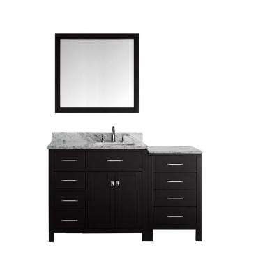 Caroline Parkway 56 in. W Bath Vanity in Espresso with Marble Vanity Top in White with Square Basin and Mirror