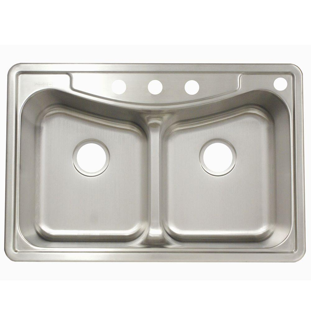 Franke Drop-In Stainless Steel 33.in 4-Hole Double Bowl Kitchen Sink ...