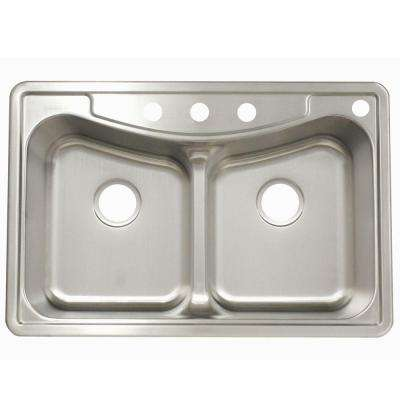 Drop-In Stainless Steel 33.in 4-Hole Double Bowl Kitchen Sink