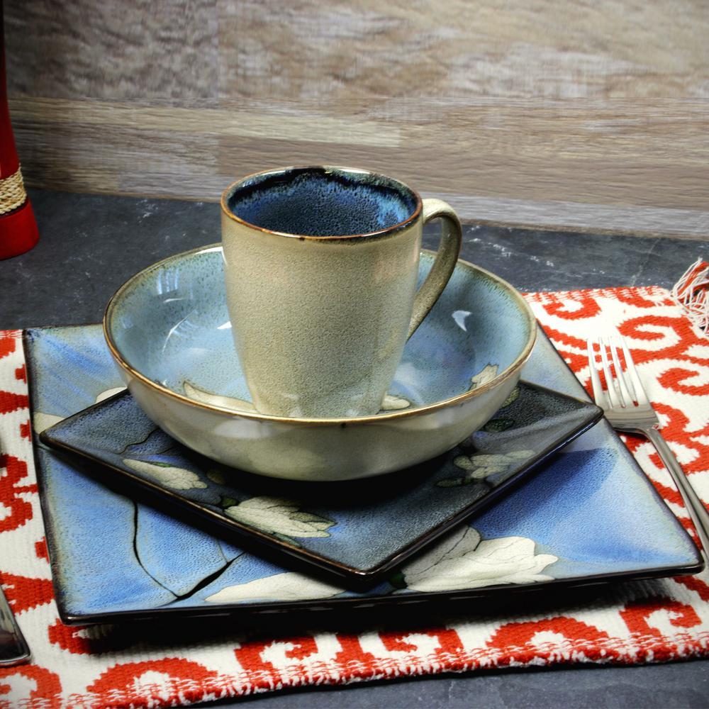 Bloomington 16-Piece Square Blue Dinnerware Set (Service for 4)