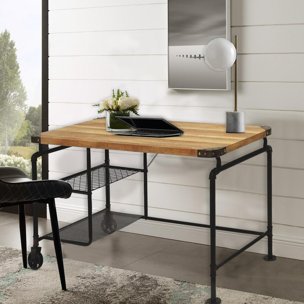 Industrial Metal Writing Brown and Black Desk With Wooden Top