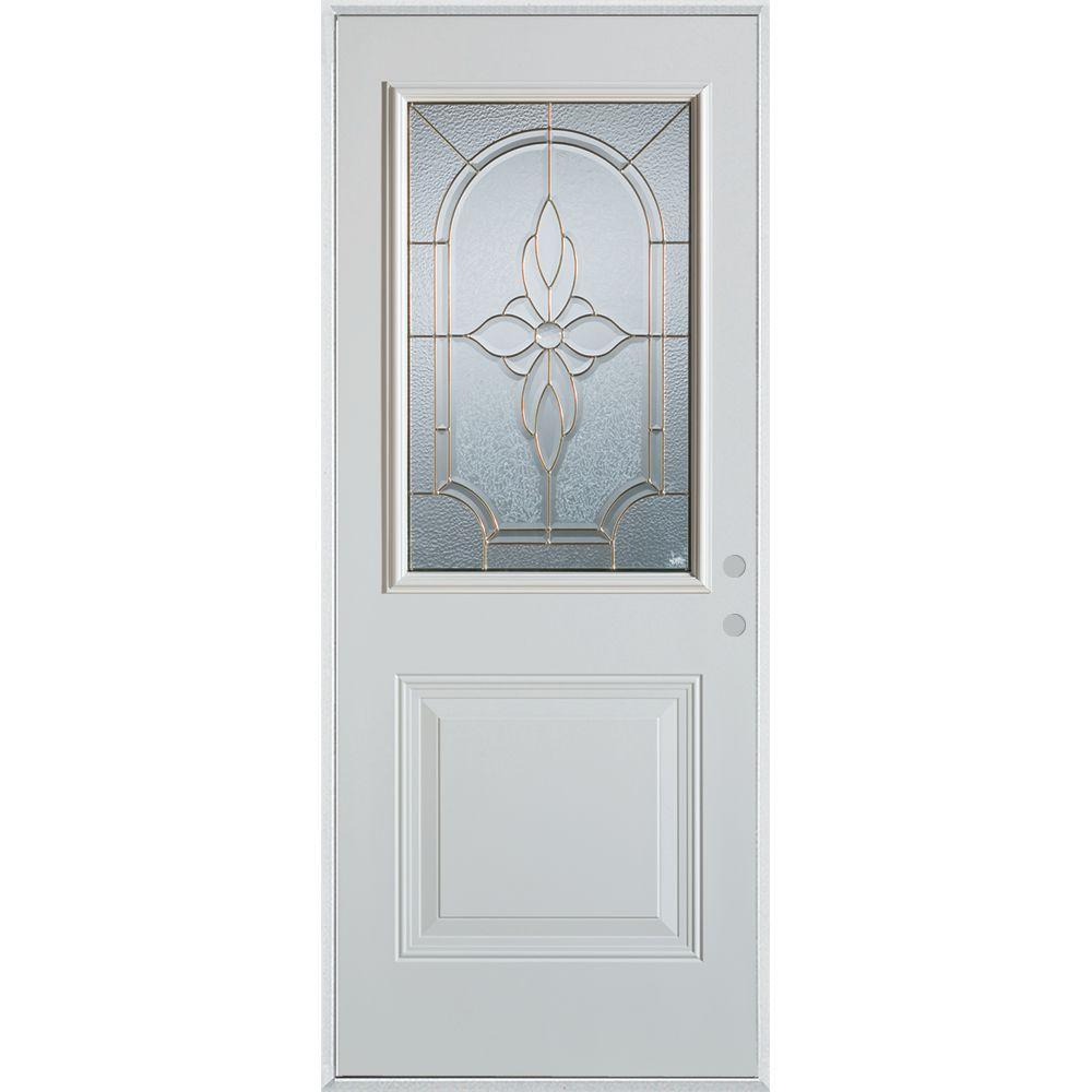 36 in. x 80 in. Traditional Patina 1/2 Lite 1-Panel Prefinished