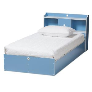 Aeluin Blue and White Twin Platform Bed Set
