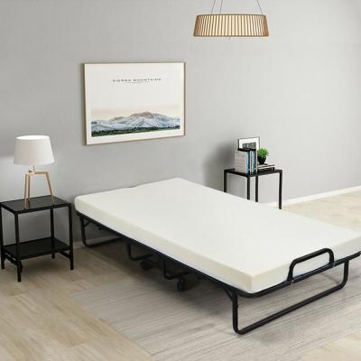 4 in. Firm White Folding Mattress Bed with Wheels
