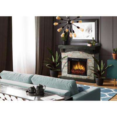 Sable Mills 42 in. W Faux Stone Mantel Electric Fireplace in Gray