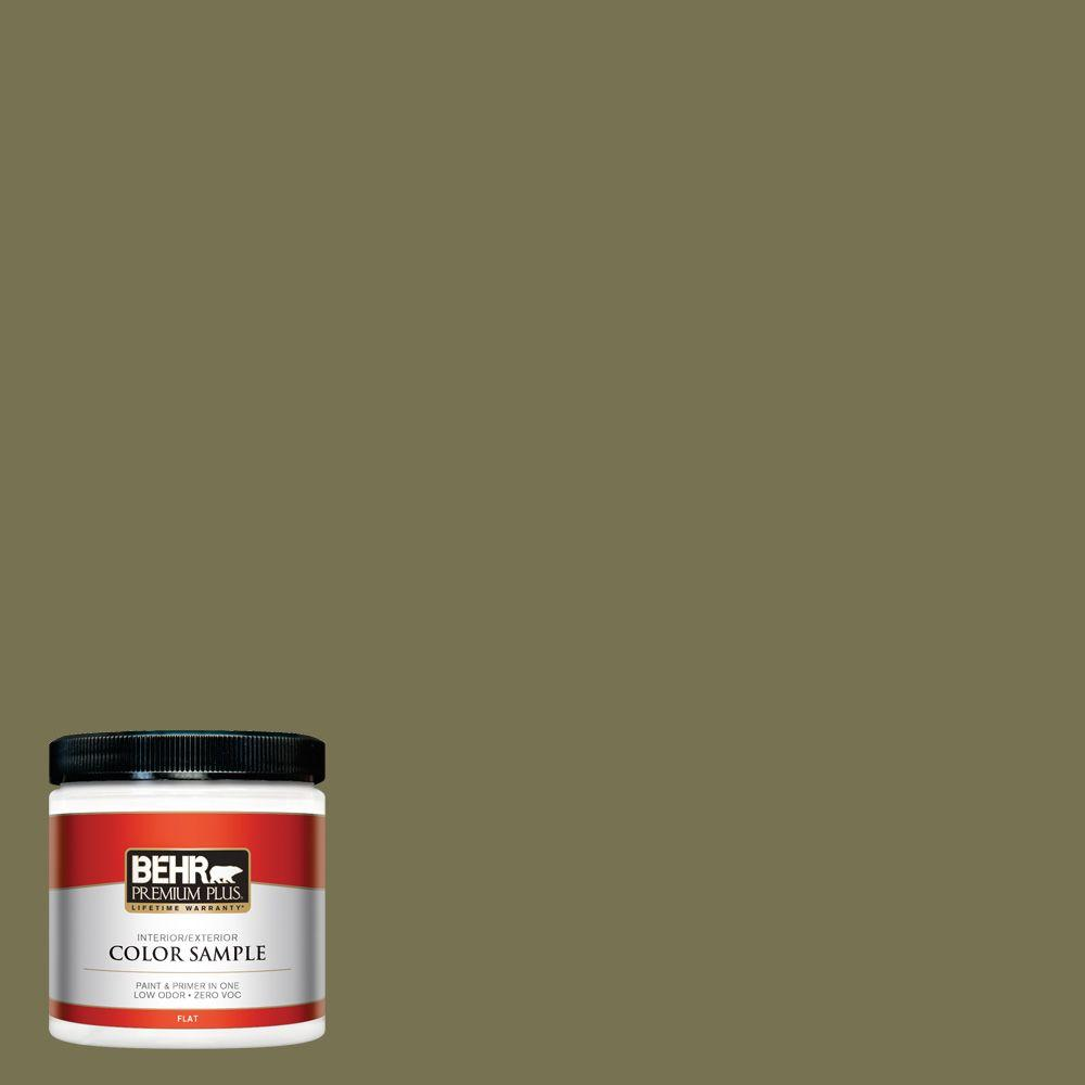 S350 6 Truly Olive Flat Interior Exterior Paint And Primer In One Sample