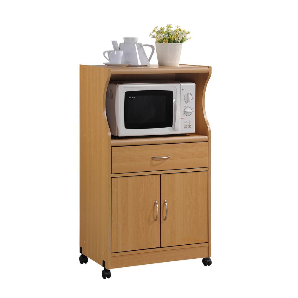 hodedah 1 drawer beech microwave cart hik77 beech the home depot. Black Bedroom Furniture Sets. Home Design Ideas