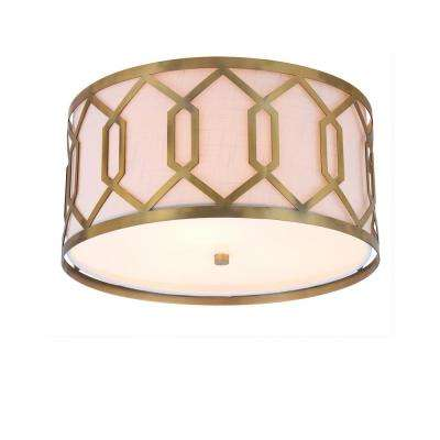 Hex 3-Light 16.25 in. Brass Gold Metal Flush Mount