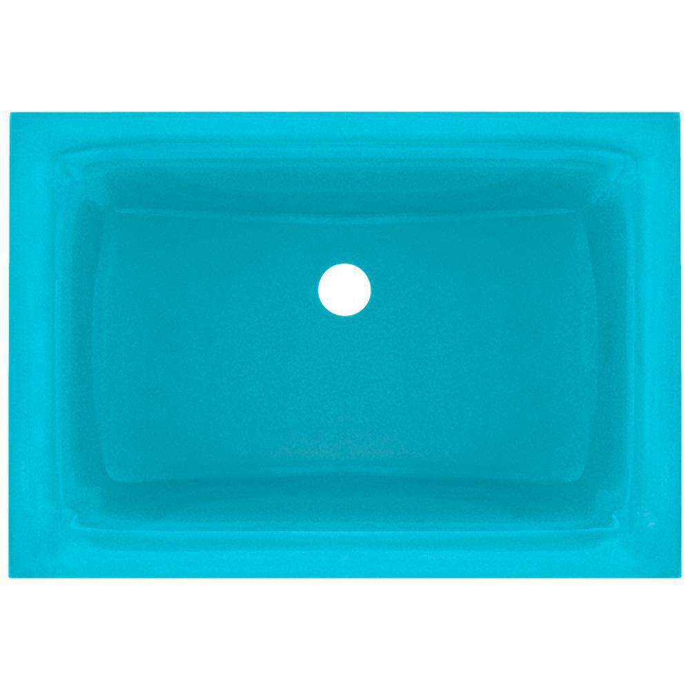 Polaris Sinks Undermount Glass Bathroom Sink in Turquoise