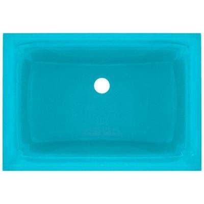 Undermount Glass Bathroom Sink in Turquoise