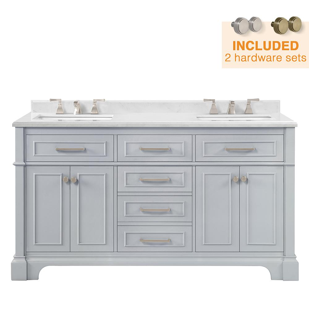 Home Decorators Collection Melpark 60 in. W x 22 in. D Bath Vanity in Dove Grey with a Cultured Marble Vanity Top in White with White Sink