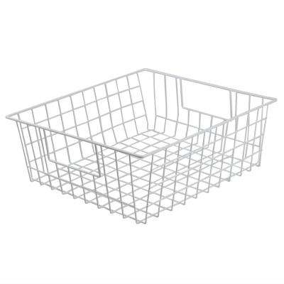 Vinyl Coated 15 in. x 5 in. White Pull-Out Steel Basket