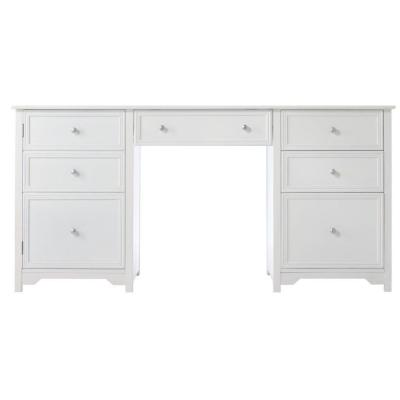 63 in. Rectangular White 4 Drawer Executive Desk with File Storage