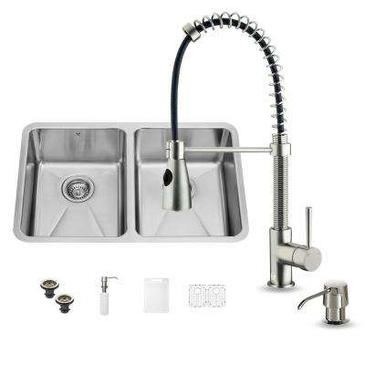 All-in-One Undermount Stainless Steel 29 in. Double Basin Kitchen Sink in Stainless Steel