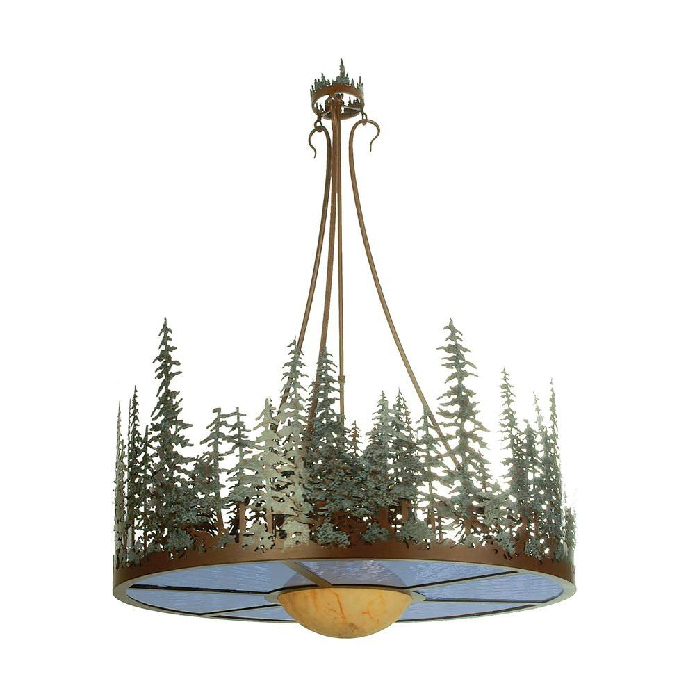 Illumine 4 Light Pine Lake Inverted Pendant Rust Finish