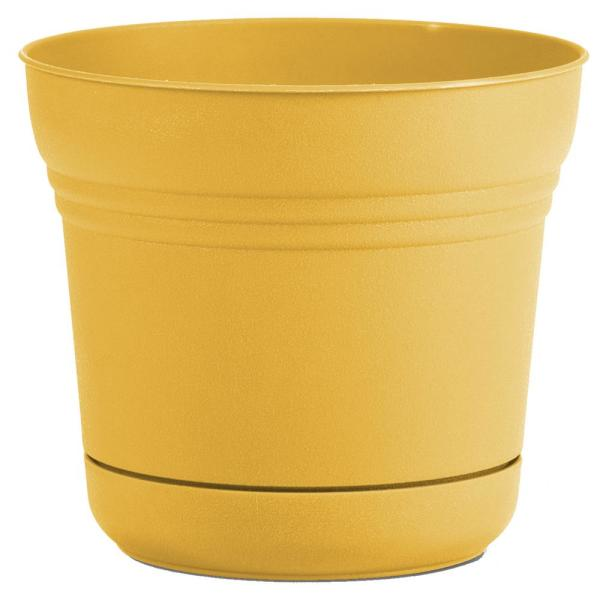Bloem Saturn 10 In X 8 5 Earthy Yellow Plastic Planter With Saucer Sp1023 The Home Depot
