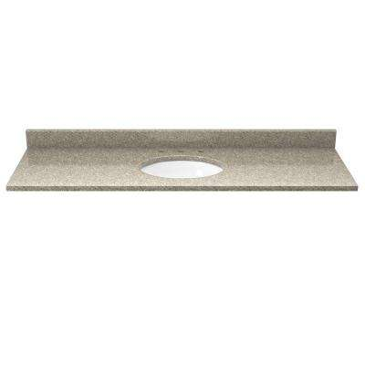 49 in. Quartz Vanity Top in Sand Staccato with White Basin