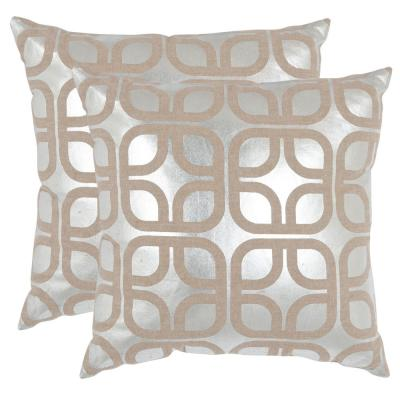 Cole Metallics Silver Geometric Down Alternative 18 in. x 18 in. Throw Pillow (Set of 2)