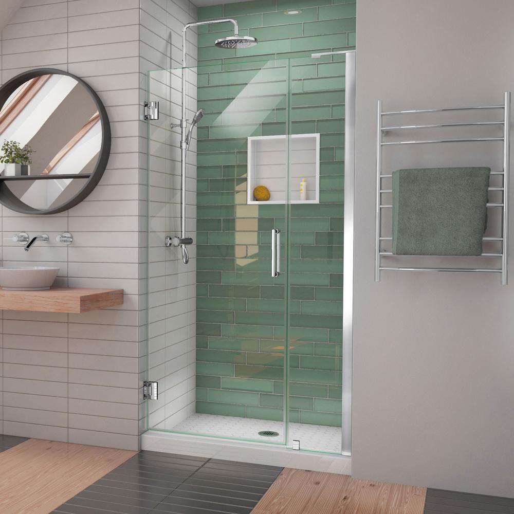 Unidoor-LS 38-39 in. W x 72 in. H Frameless Hinged Shower Door in Chrome