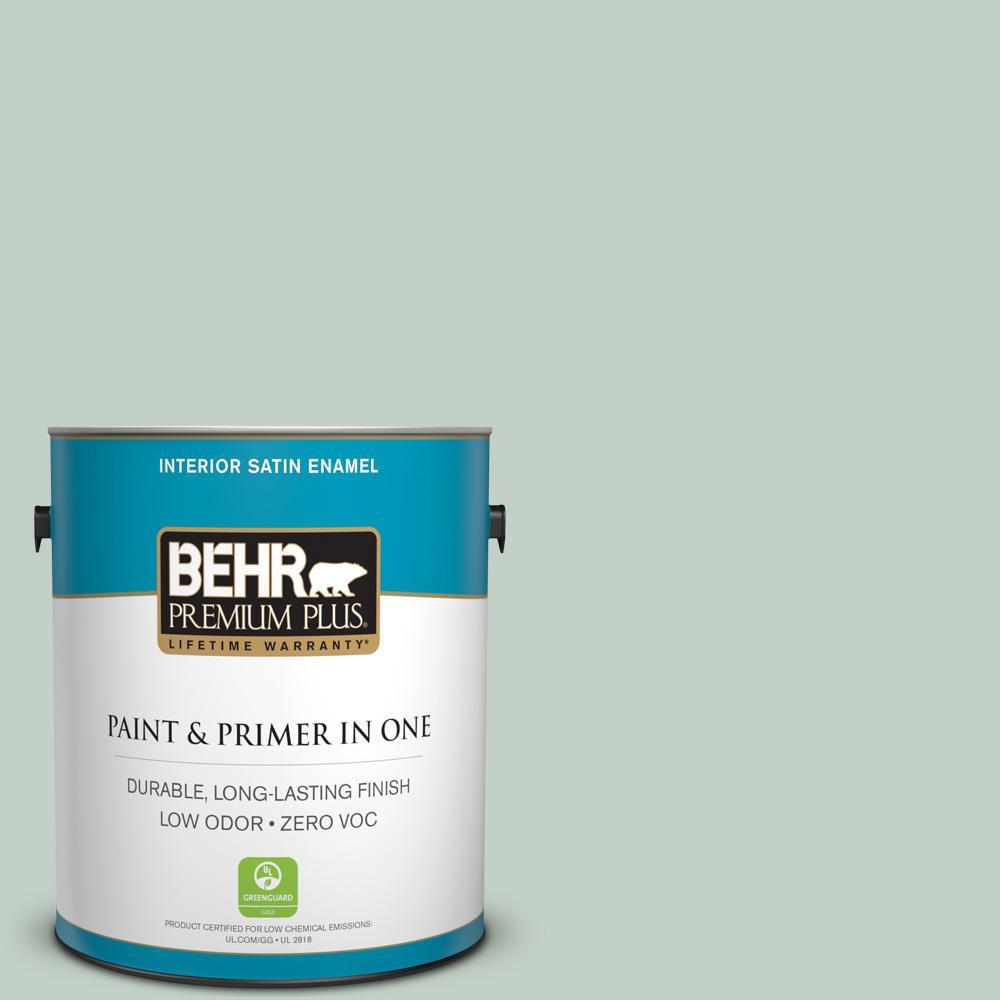 1 gal. #PPU11-13 Frosted Jade Zero VOC Satin Enamel Interior Paint