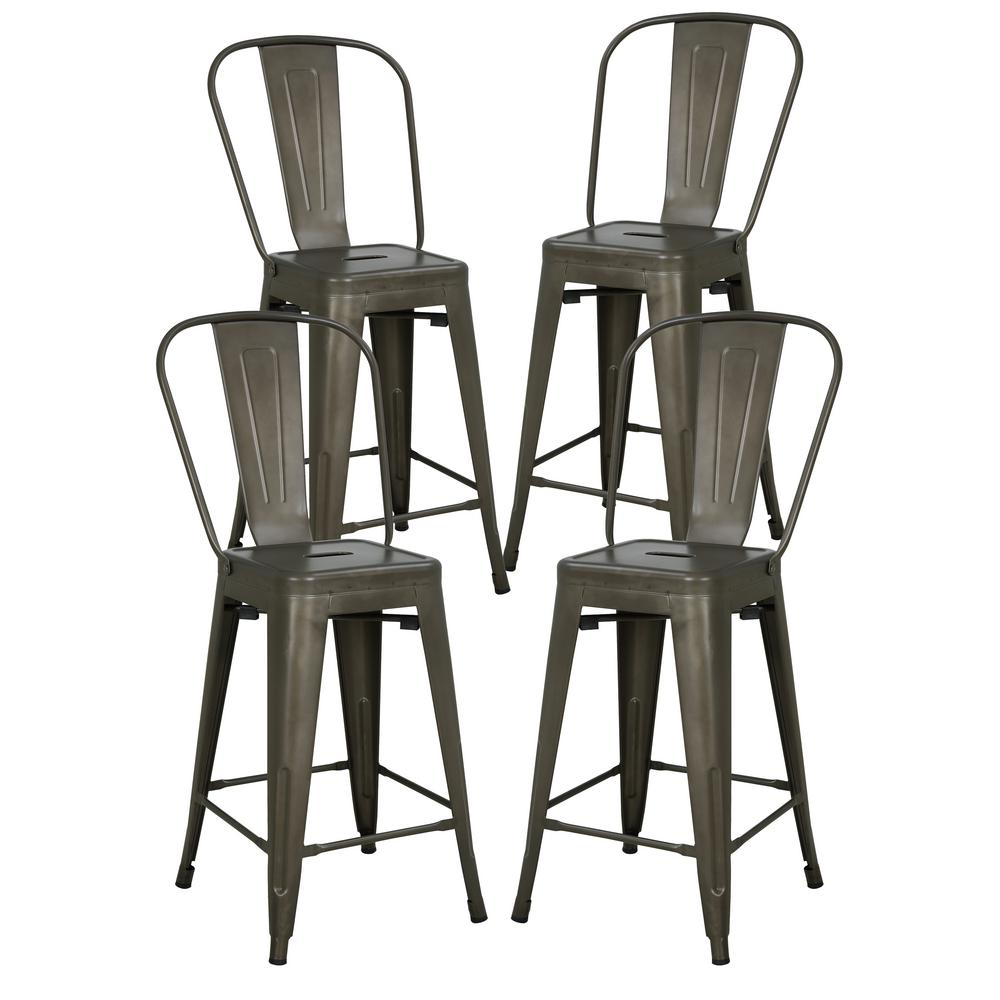 Poly And Bark Trattoria 24 In High Back Counter Stool In Bronze