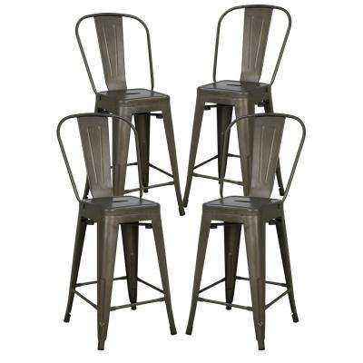 Trattoria 24 in. High Back Counter Stool in Bronze (Set of 4)