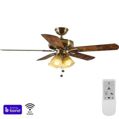 Lyndhurst 52 in. Antique Brass LED Smart Ceiling Fan with Light and Remote Works with Google Assistant and Alexa